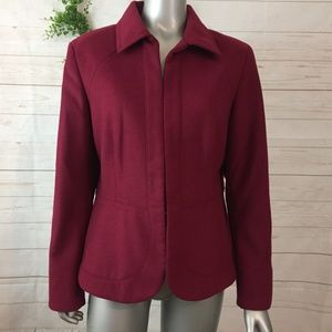 Chicos Sz 2 Red Hook Closure Structured Jacket